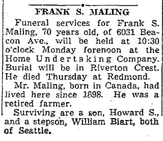 Obituary, Frank S. Maling