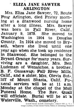 Eliza Jane Sawyer - Obituary