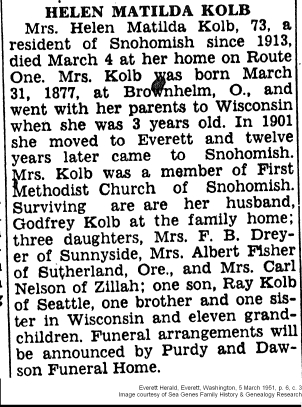 Obituary - Helen Matilda Kolb, Snohomish, Washington