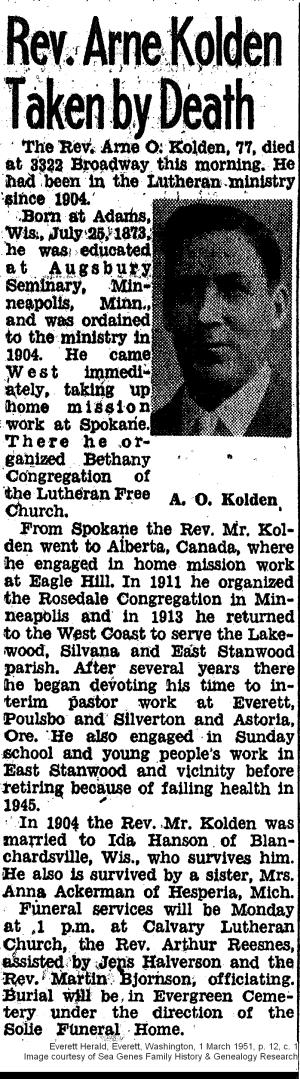 Obituary - Arne O. Kolden - Everett Herald, Everett, Washington