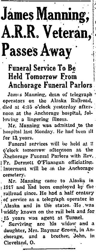 Anchorage Daily Times, Anchorage, Alaska Territory. 3 February 1940, page 1, column 5.
