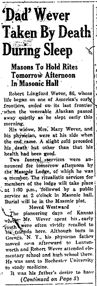 Anchorage Daily Times 2 March 1940, p. 1, c. 1