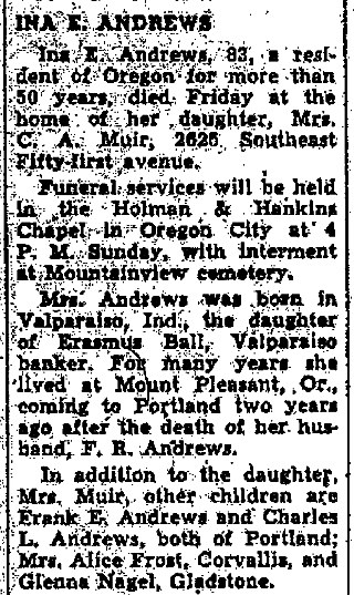 Portland Oregonian, Portland, Oregon, 23 March 1940, p. 8, c. 2.