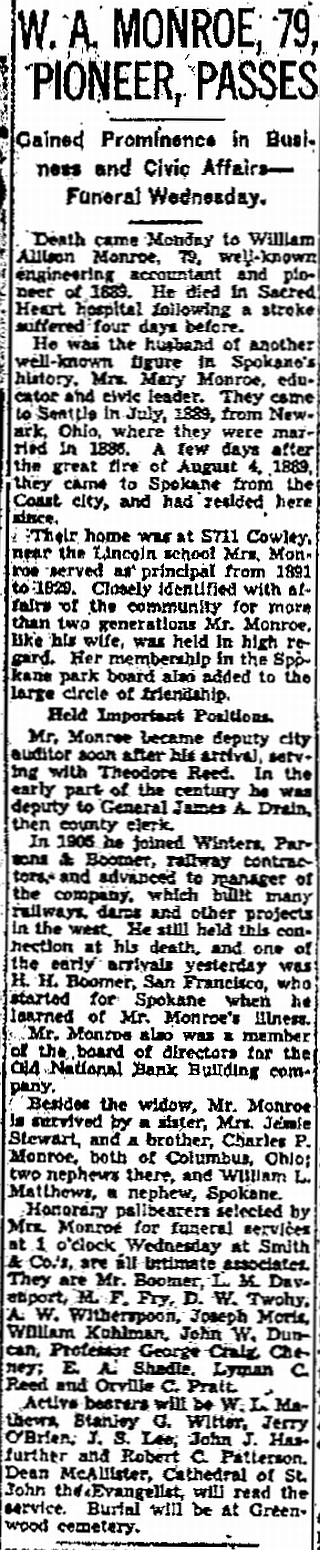 Spokesman-Review 19 March 1940, p. 6, c. 3.