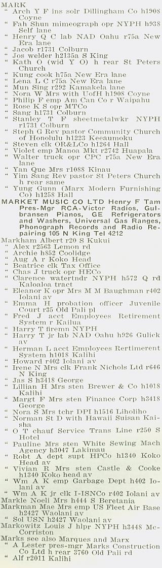 Polk-Husted, City Directory, Honolulu, Hawaii 1940, page 380, column 1