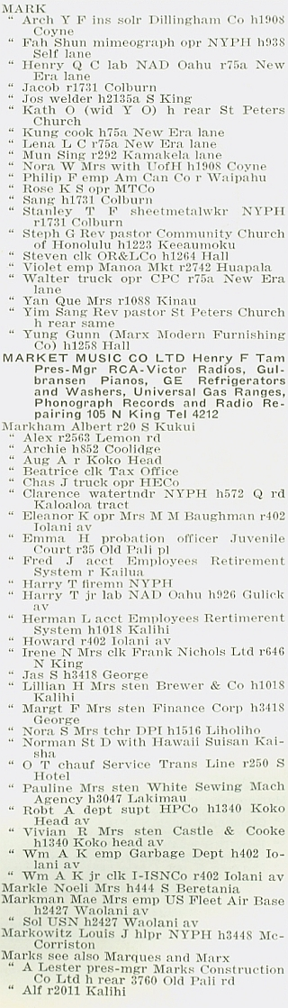 Polk-Husted, City Directory, Honolulu, Hawaii 1940, page 380, column 1